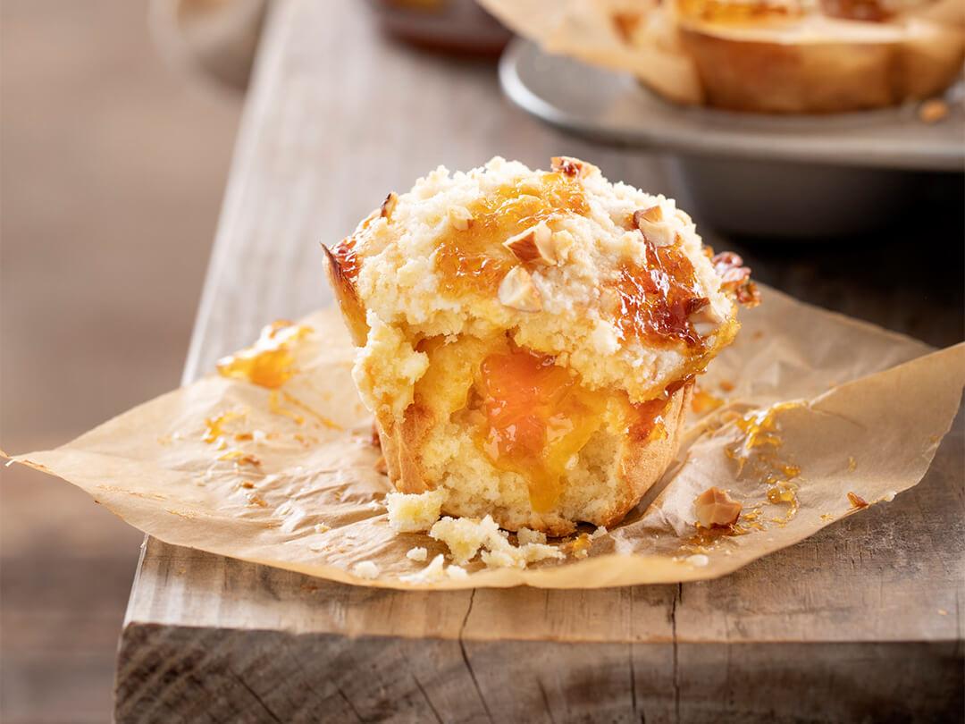 Muffins de mermelada de duraznos