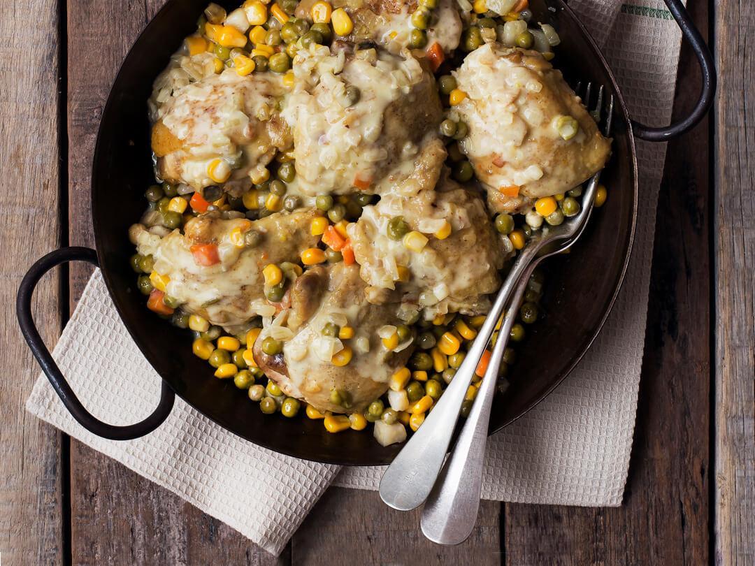 Pollo a la mostaza con verduras